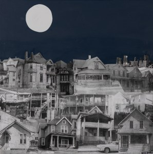 Three layers of collaged, black and white buildings occupy most of the frame. A white moon sits at the top left corner of a dark blue sky.