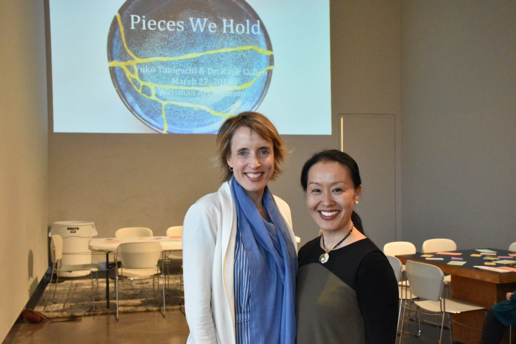 "Arist Yuko Taniguchi and Dr. Kathryn Cullen pose for a portrait during the ""Pieces We Hold"" workshop."