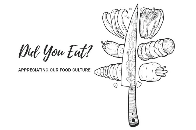"Cover image for zine, titled ""Did You Eat?"". Pictured: black and white line drawing of an upraised knife with sliced vegetables"