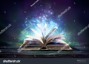bewitched book with magic glows