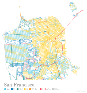 San Francisco maps displaying city roads and streets