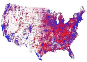 A visual representation of every vote cast in the 2016 United States presidential election. Image courtesy of Kenneth Field and Esri.