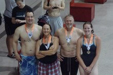 The breaststroke crew. L-R Ben Hammond, Gail Holland, Ted McGahie, Chelsea Bueter.