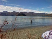 West Wanaka beach, looking towards Mou Tapu Island with the Matukituki River entering just to the right