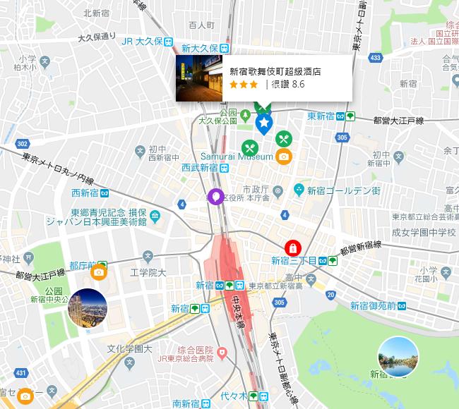 super-hotel-shinjuku-kabukicho-map