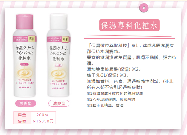 專科 保濕化妝水 乳液