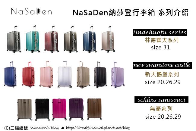 NaSaDen納莎登行李箱 系列介紹
