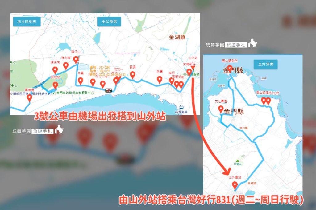 圖:金門旅遊公車路線圖