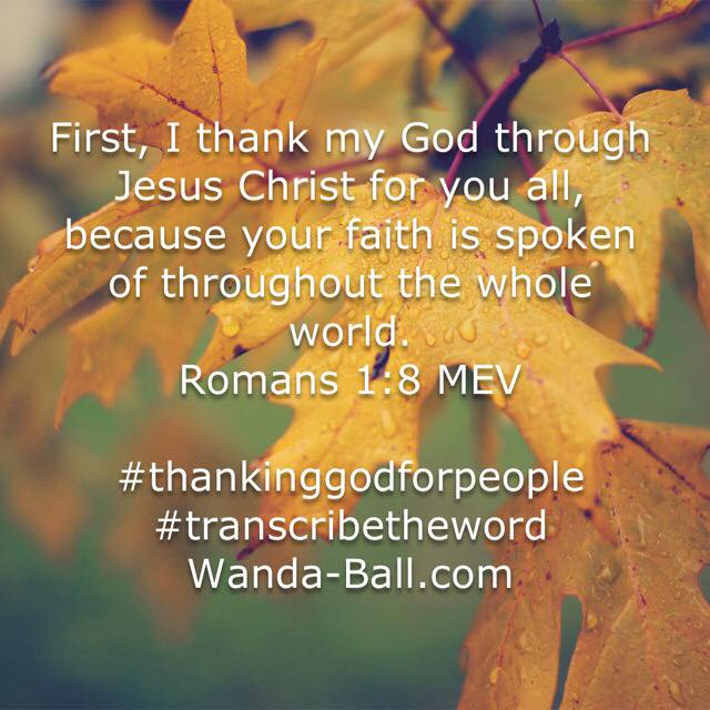 thank god for people Romans 1-8