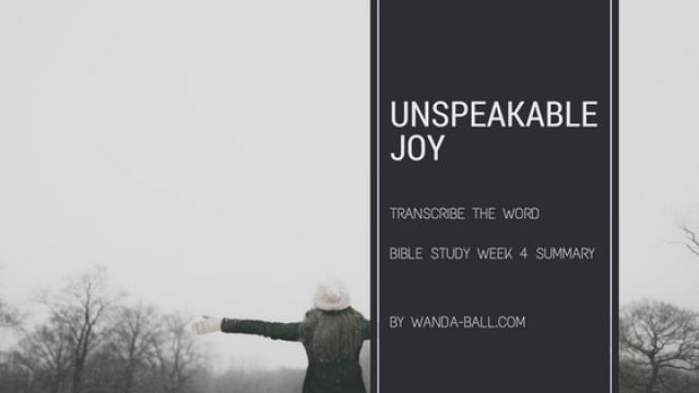 Unspeakable Joy week 4 summary