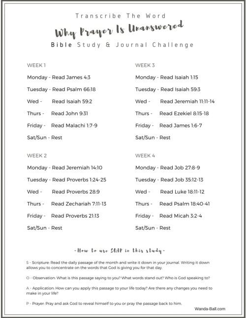Why is prayer unanswered Free Jan 2018 bible study