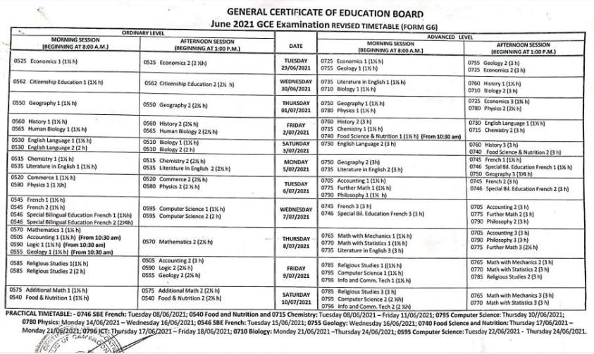 GCE 2021 practical and examination timetable.