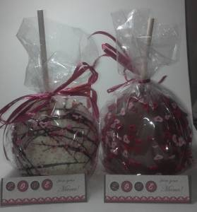 I gave my kids chocolate covered apples, the tag cards were made with My Digital Studio