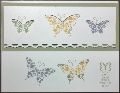 Here's another version of the card. I used the following punches Bitty Butterfly (129406) and Elegant Butterfly (127526). Stamp sets: Papillon Potpourri and Occasions Alphabet (123598) which I love! It has an occasion for every letter.