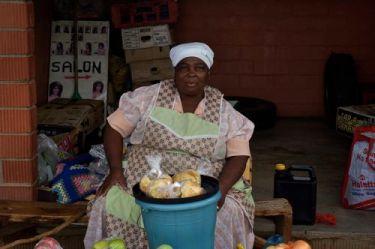 A roadside vegetable seller ekes out a living at Keate's Drift.
