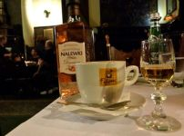Jama Michalika breakfast nalewka and coffee, Krakow.