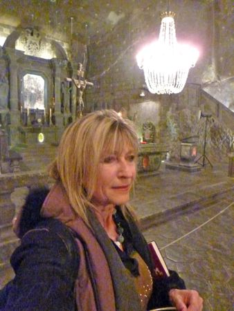 Selfie inside Wieliczka Salt Mine where there's a pretty good restaurant.