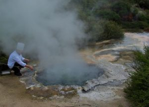 New Zealand geothermal pool cooking.