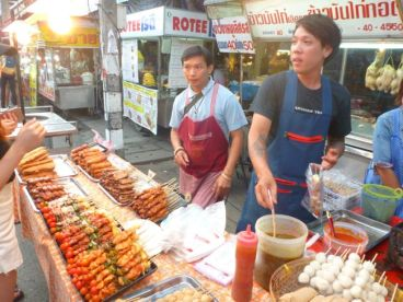 Prepping food for sale.