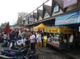 Street scene food market Saturday.