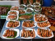 Seafood galore at the Saturday night food market.