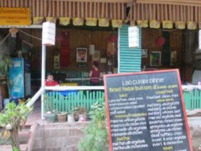 Eating in Pakbeng Laos.