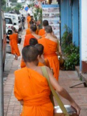 The monks alms parade Luang Prabang.