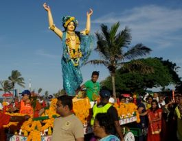 Goddess at Hare Krishna parade in Durban.