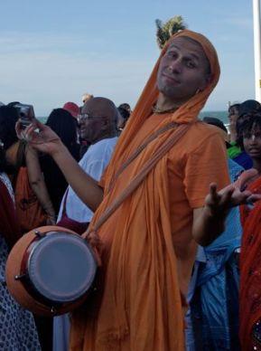 Hare Krishna drummer.