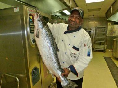 John Moatshe and fish