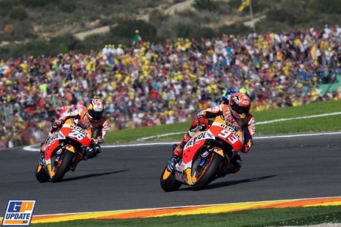 Marques en Pedrosa tijdens GP Valencia (Bron: GP Update)