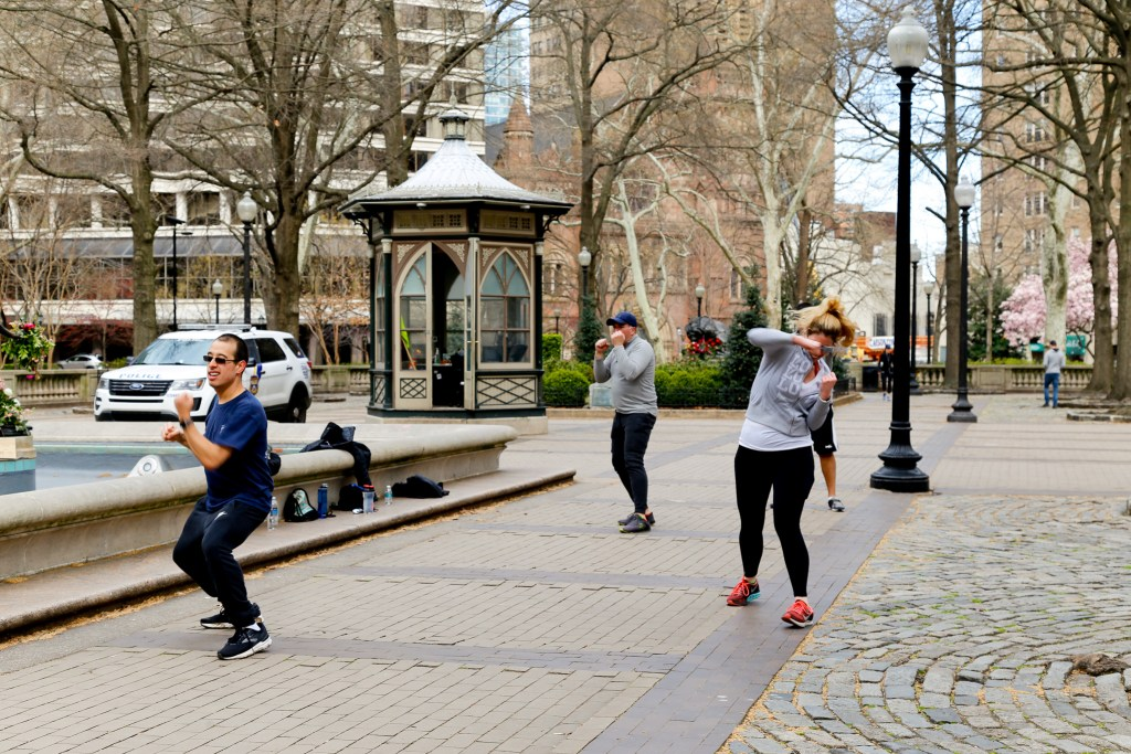 Fitness group in Rittenhouse square