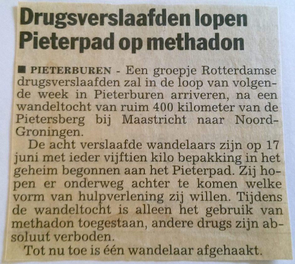 Drugsverslaafden lopen het Pieterpad
