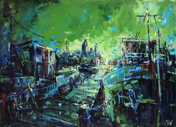 schilderij-amsterdam-oosterdok-groen