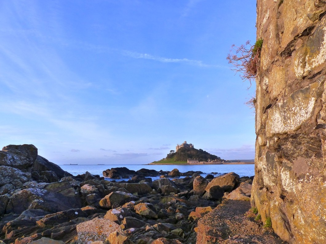 St Michaels Mount wall - South West Coast Path