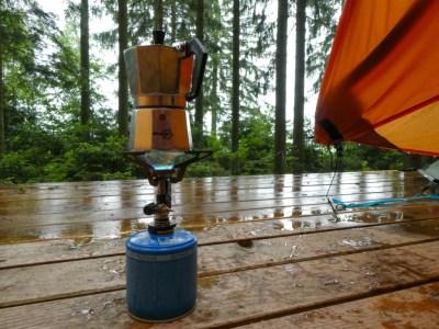 Koffie kampeervlonder