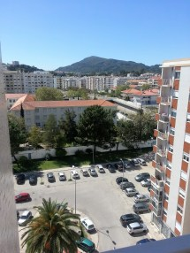 From our 9th floor veranda toward the Arrábida mountains