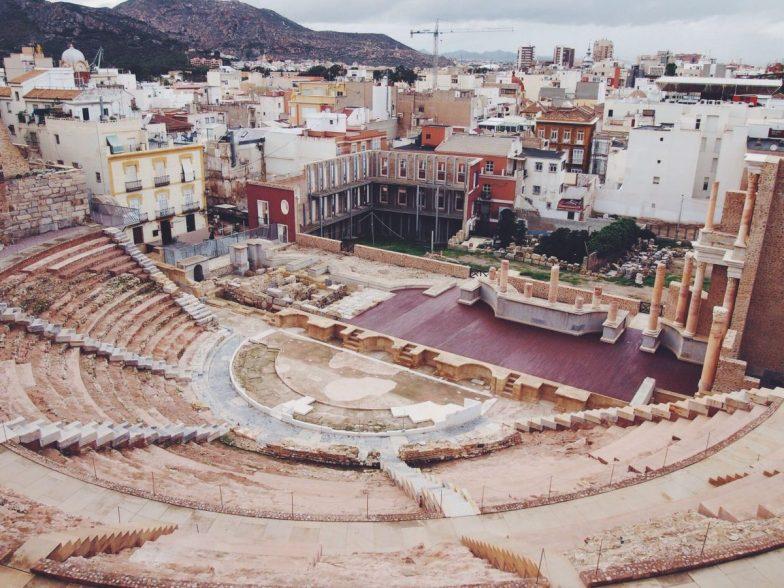 Looking down over the huge Roman amphitheatre in Cartagena, Spain.
