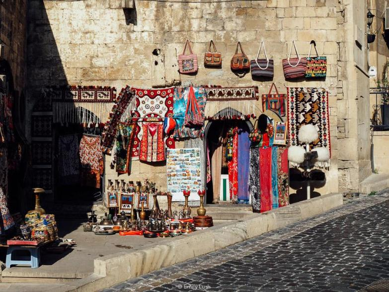 A display of souvenirs in Baku Old City.