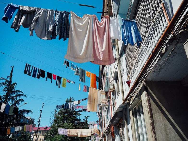 Washing strung across lines between apartment blocks in Batumi, Georgia.