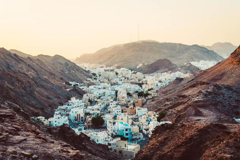 Village between the mountains.   Oman road trip