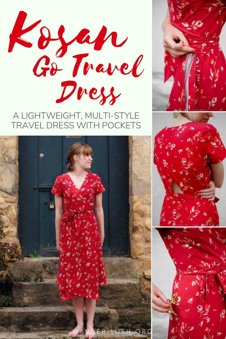 An honest review of the Kosan Go Travel Dress—a stylish travel dress with pockets, an adjustable hemline, wrinkle-resistant fabric, and other backpack-friendly features.
