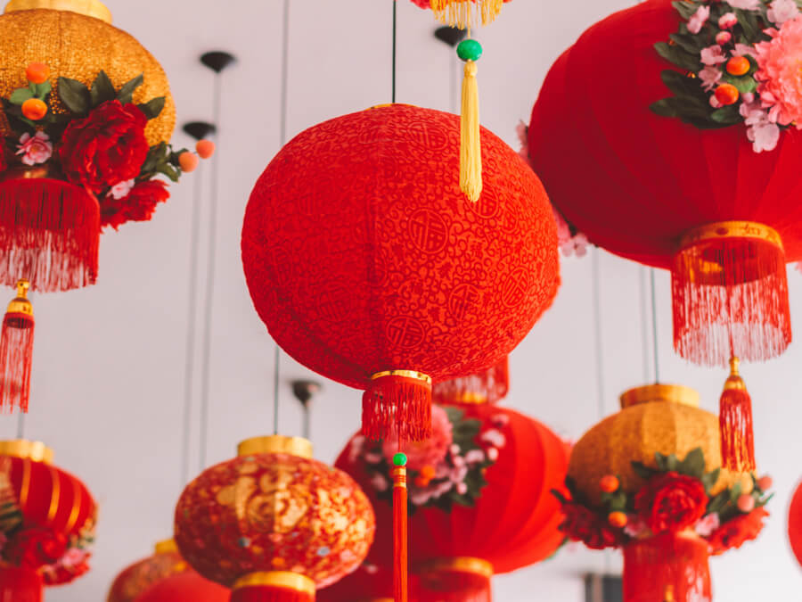 Red and gold lanterns strung from the ceiling.