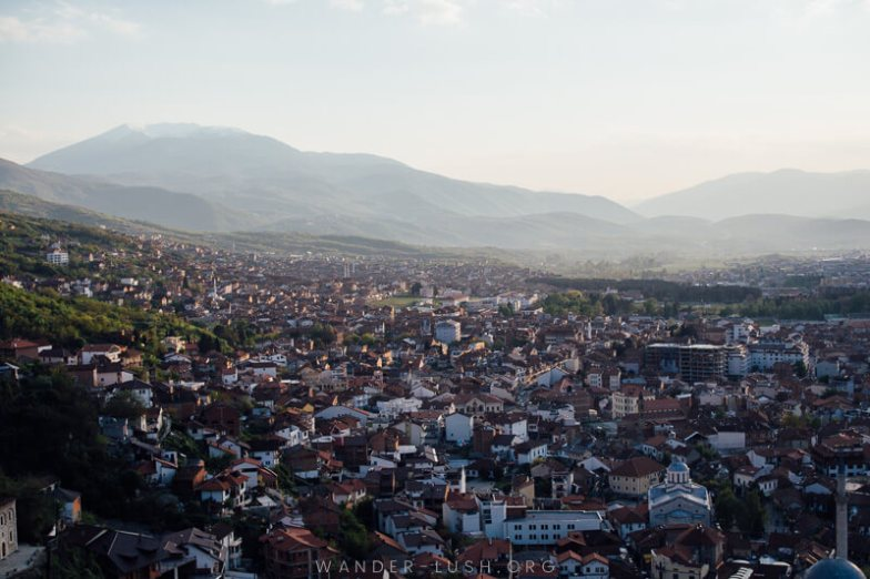 Prizren at sunset | Planning a trip to Kosovo? Let my video guide be your inspiration! Here are the best things to do in Prizren, Kosovo's cultural capital.