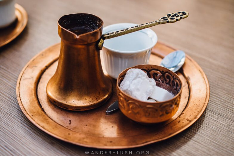 A traditional coffee set in Sarajevo | A Sarajevo food tour gives a perfect introduction to the city's culture and history. Here's what to expect from a food tour with local company, Balkantina.