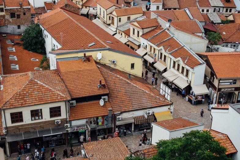 Aerial view of Skopje Old Bazaar from Hotel Arka.