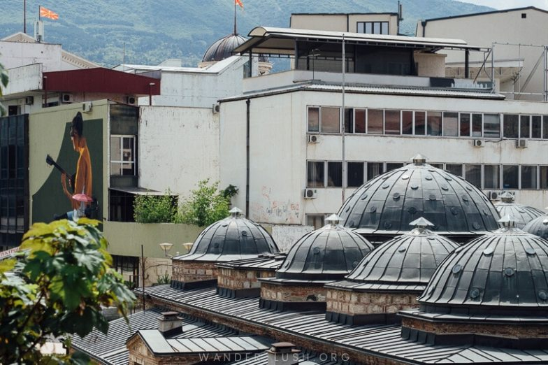 The domed roof of a hamam inside Skopje Old Bazaar.