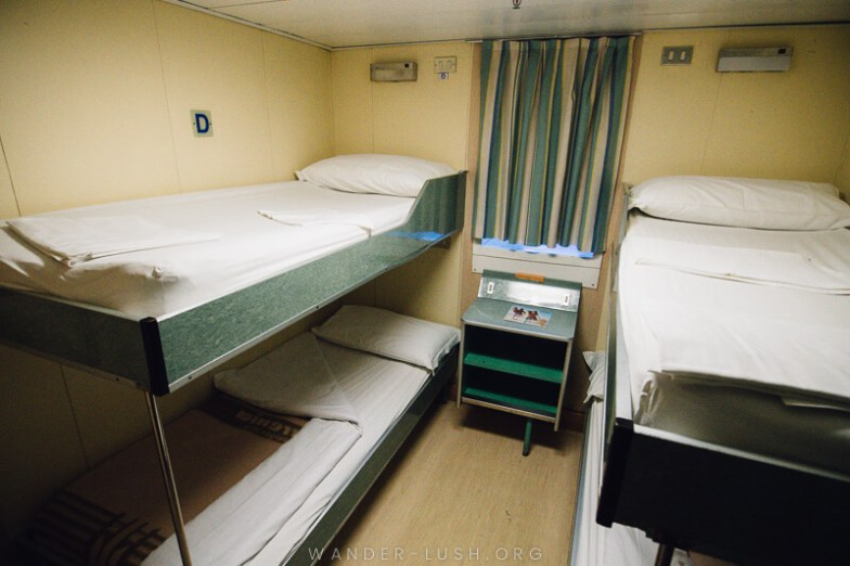 Inside a 4 berth cabin on the Bari Durres ferry.