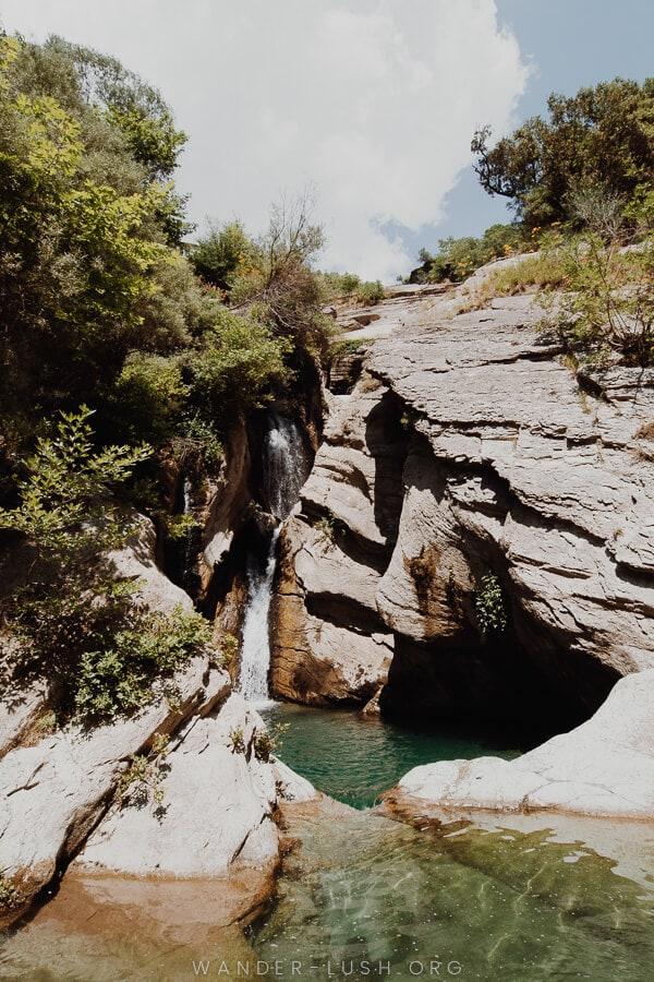 A small waterfall.