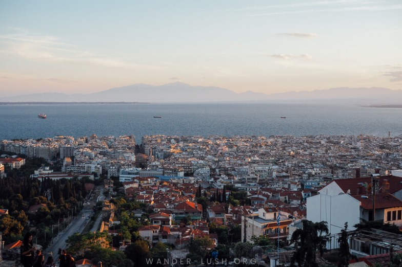 Sunset view of Thessaloniki. Your reward after completing the roundabout journey from Bitola to Thessaloniki!